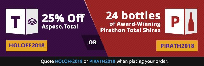 25% off Aspose.Total OR 24 bottles of Award-Winning Pirathon Total Shiraz