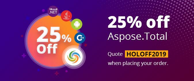 25% off Aspose.Total